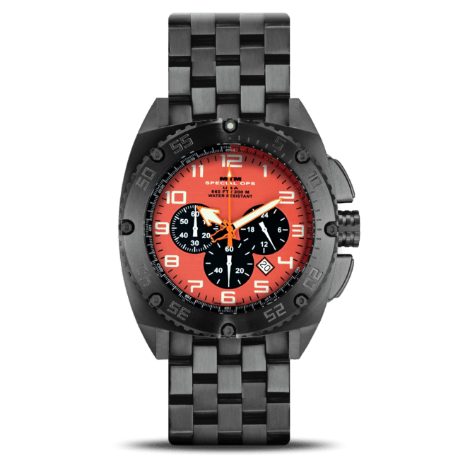 MTM Black Patriot Orange Dial